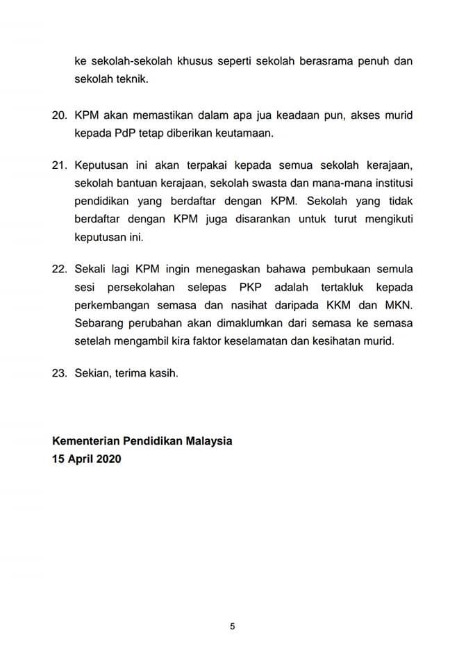 Rumusan Sidang Media Menteri Kanan Pendidikan Untuk Pelajar Sekolah